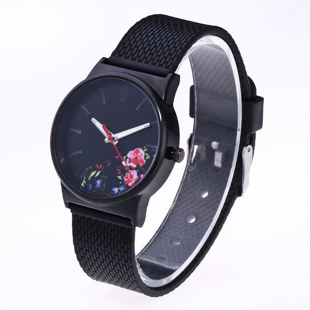 Elegant Black Watch with Colorful Flowers