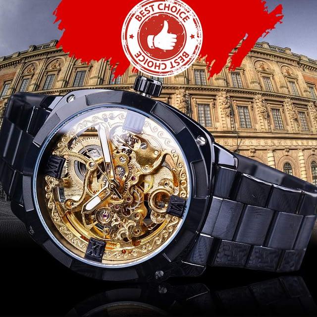 """Royal Gold"" Luxury Skeleton Dial Watch for Men"