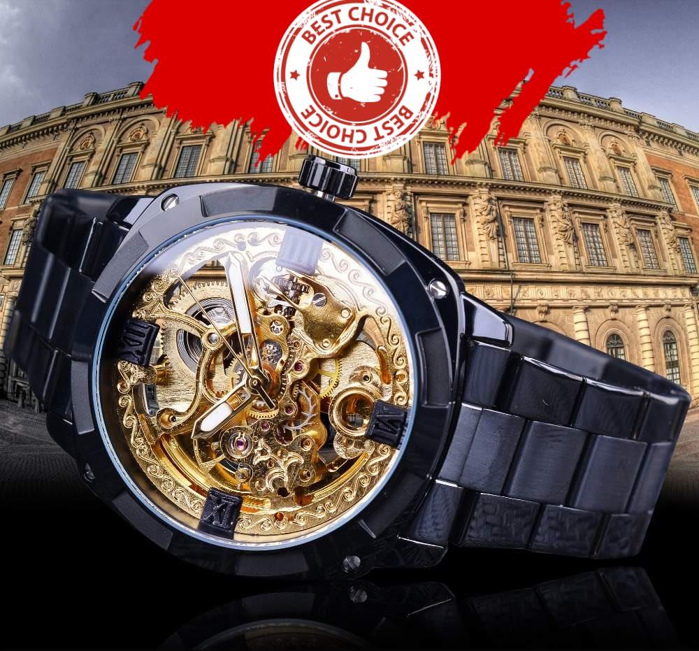 Forsining Retro Classic Royal Design Golden Skeleton Black Steel Transparent Mens Automatic Mechanical Watches Top Brand Luxury