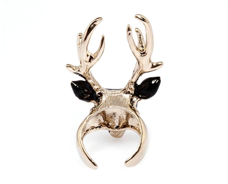 eManco men's rings black ladies enamel rings for women white color animals deer cuff rings jewellry Christmas gift